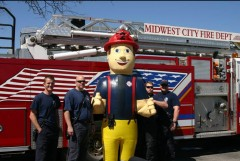 Big Jim (in the middle) is named after one of our firefighters who was killed on the job in 1999, Jim Clark. Kiddos of all ages love him! This is Ladder 2, B-Shift from Midwest City, OK.