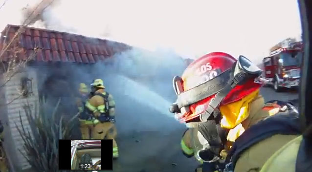 costa mesa helmet camera video of garage fire